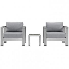 3 Piece Silver Aluminum Patio Set Grey Fabric Cushions