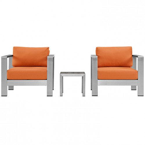 3 Piece Silver Aluminum Patio Set Orange Fabric Cushions