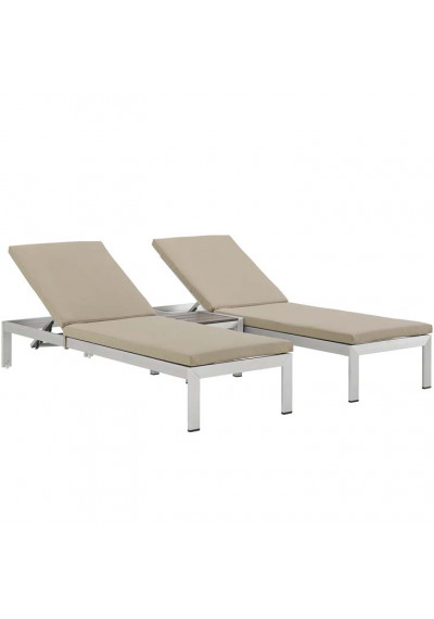 3 Piece Silver Aluminum Patio Chaise & Table Set Beige Cushions