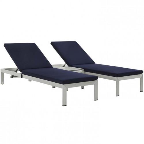 3 Piece Silver Aluminum Patio Chaise & Table Set Navy Cushions