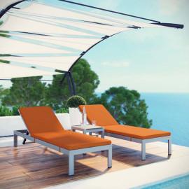 3 Piece Silver Aluminum Patio Chaise & Table Set Orange Cushions