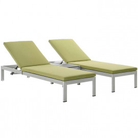 3 Piece Silver Aluminum Patio Chaise & Table Set Lime Cushions