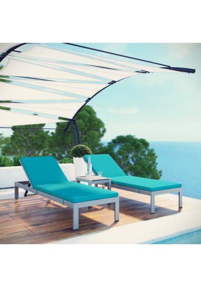 3 Piece Silver Aluminum Patio Chaise & Table Set Aqua Cushions