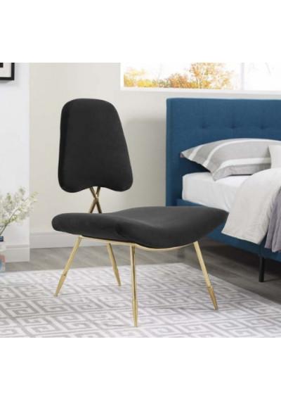 Black Velvet Gold Toothpick Leg Lounge Chair