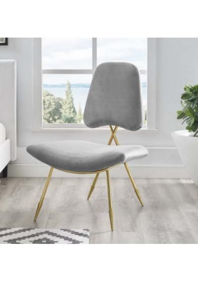 Grey Velvet Gold Toothpick Leg Lounge Chair