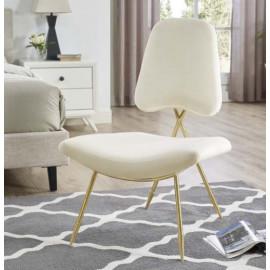 Ivory Velvet Gold Toothpick Leg Lounge Chair