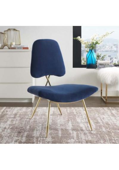 Navy Blue Velvet Gold Toothpick Leg Lounge Chair