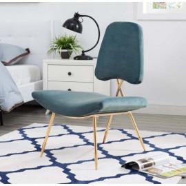 Dusty Green Velvet Gold Toothpick Leg Lounge Chair