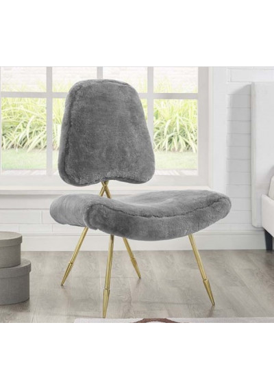 Grey Sheepskin Gold Toothpick Leg Lounge Chair