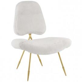 White Sheepskin Gold Toothpick Leg Lounge Chair