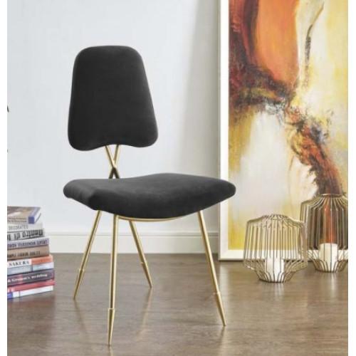 Black Velvet Gold Toothpick Leg Accent Dining Chair