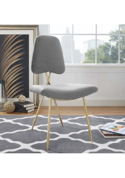 Grey Velvet Gold Toothpick Leg Accent Dining Chair