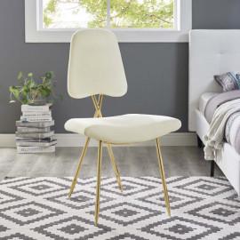 Ivory Velvet Gold Toothpick Leg Accent Dining Chair