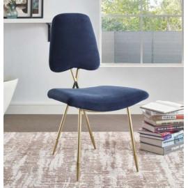 Navy Blue Velvet Gold Toothpick Leg Accent Dining Chair