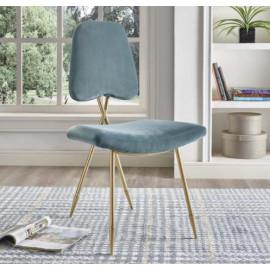 Dusty Green Velvet Gold Toothpick Leg Accent Dining Chair