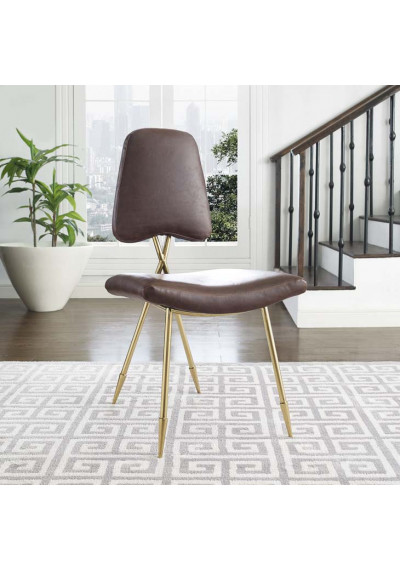 Brown Faux Leather Gold Toothpick Leg Accent Dining Chair