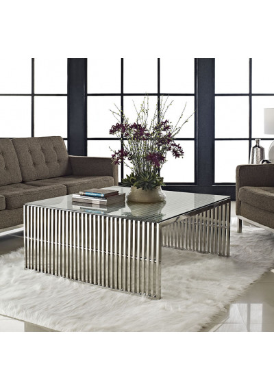 Silver Staple Glass Top Coffee Table