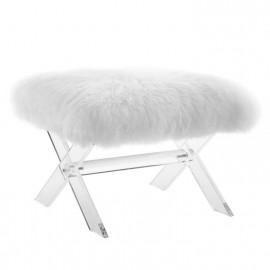 White Sheepskin Ottoman Footstool Acrylic X Frame