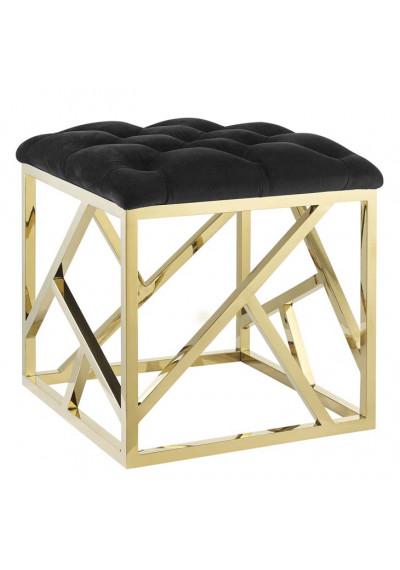 Black Velvet Ottoman Footstool Gold Geometric Base