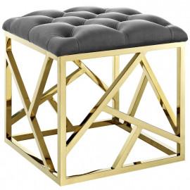 Grey Velvet & Gold Ottoman Footstool Geometric
