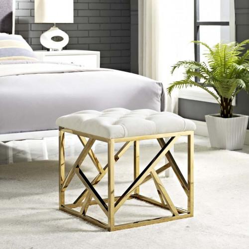 Ivory Velvet Ottoman Footstool Gold Geometric Base