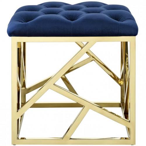 Blue Velvet Gold Geometric Base Ottoman Footstool
