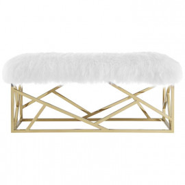 White Sheepskin & Gold Geometric Base Bench