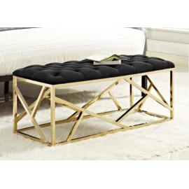 Black Velvet Tufted & Gold Geometric Base Bench