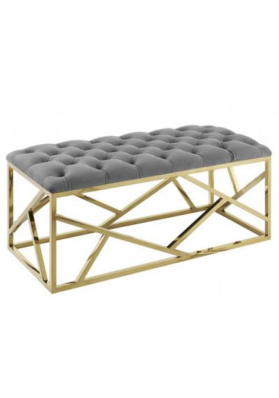 Grey Velvet Long Bench Gold Geometric Base