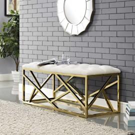 Ivory Velvet Tufted Bench Gold Geometric Base