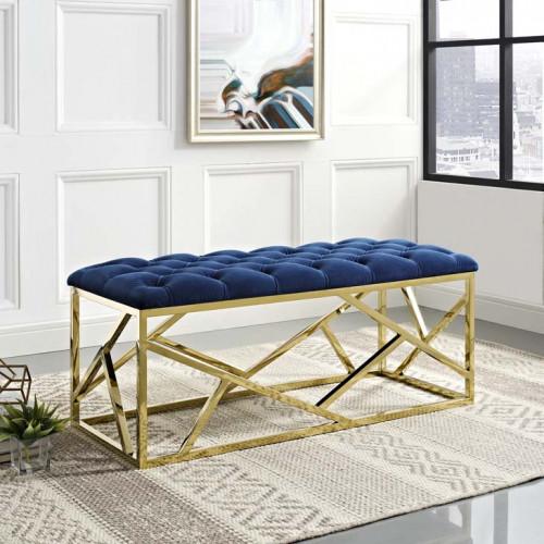Blue Velvet Tufted Bench Gold Geometric Base