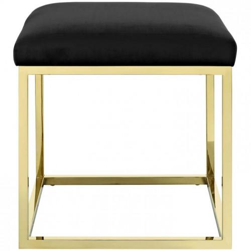 Black Velvet Ottoman Footstool Gold Square Base