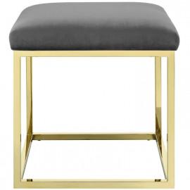 Grey Velvet Ottoman Footstool Gold Square Base