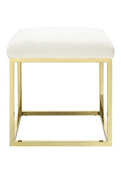 Ivory Velvet Ottoman Footstool Gold Square Base