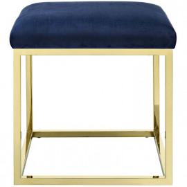 Blue Velvet Ottoman Footstool Gold Square Base