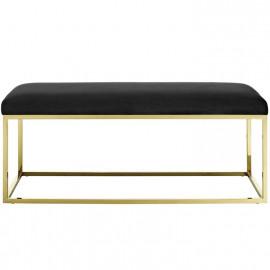 Black Velvet & Gold Base Bench