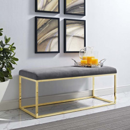 Grey Velvet & Gold Base Bench