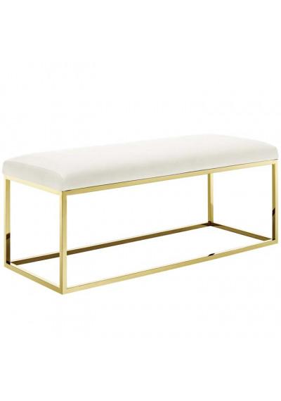 Ivory Velvet & Gold Base Bench
