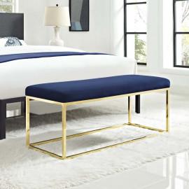 Blue Velvet & Gold Base Bench