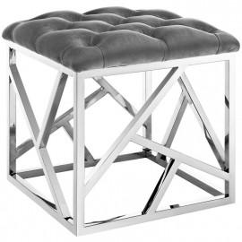 Grey Velvet & Silver Ottoman Footstool Geometric