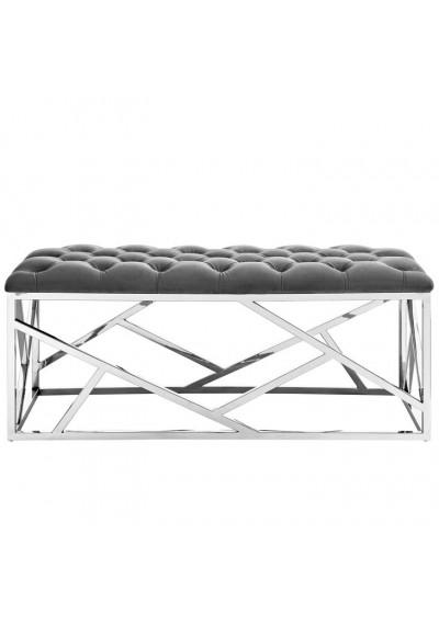 Grey Velvet Tufted Bench Silver Geometric Base