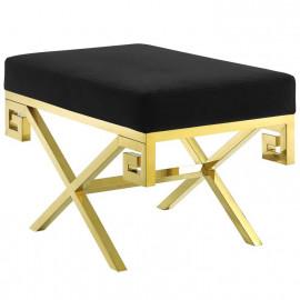 Black Velvet Gold Greek Key Design Ottoman Footstool