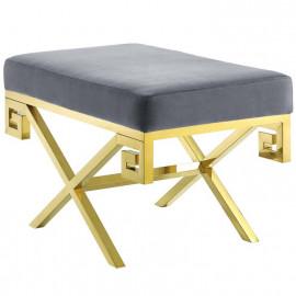 Grey Velvet Gold Greek Key Design Ottoman Footstool