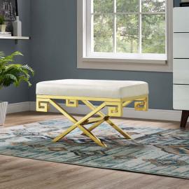 Cream Velvet Gold Greek Key Design Ottoman Footstool