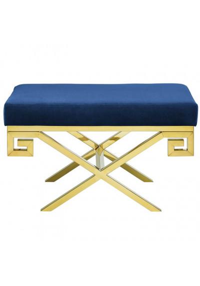 Blue Velvet Gold Greek Key Design Ottoman Footstool