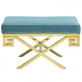 Sea Foam Velvet Gold Greek Key Design Ottoman Footstool