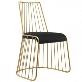 Gold Bars & Black Velvet Seat Dining Chair