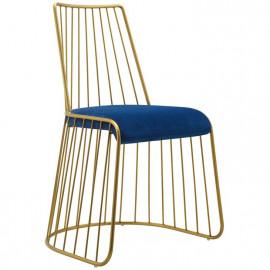 Gold Bars & Blue Navy Velvet Seat Dining Chair