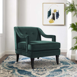 Deep Green Velvet Sloping Cut Out Arm Chair