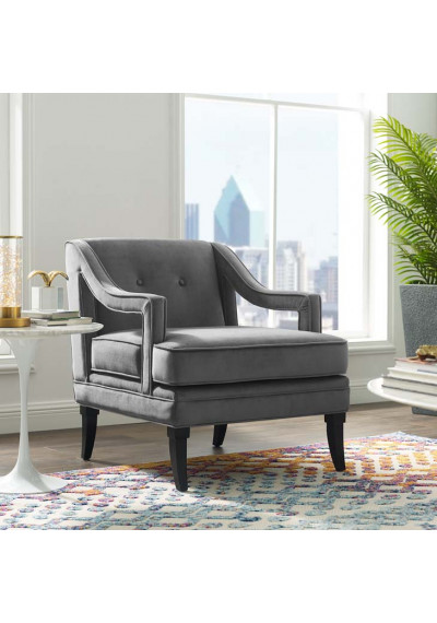 Grey Velvet Sloping Cut Out Arm Chair